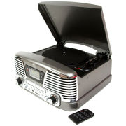 GPO Memphis Turntable 4-in-1 Music System with Built in CD and FM Radio - Silver