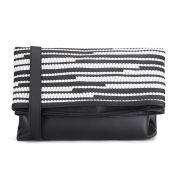French Connection Women's Monochrome Woven Leather Clutch Bag - Black/White