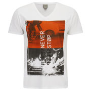 Bench Men's Printed Stop Sleep T-Shirt - Bright White