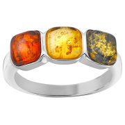 Silver Plated Amber Gem Stone Ring