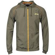 Slazenger Men's Zip Through Hooded Kagoule - Khaki/Orange