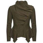 GROA Women's Boiled Wool Winter Jacket - Green