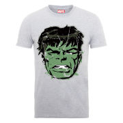 Marvel Hulk Face Distress Men's T-Shirt - Heather Grey