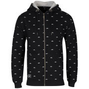 Atticus Men's Printed Zip Through Hoody - Black