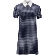 Glamorous Women's Grid Collar Dress - Navy