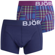 Bjorn Borg Men's  2-Pack Technical Check Boxers - Classic Blue