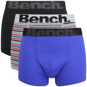 Bench Men's 3 Pack Boxers - Red Stripe/Blue/Black