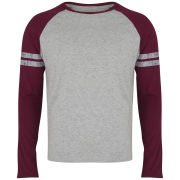 Brave Soul Men's Raglan Contrast Stripe Long Sleeve Top - Burgundy/Grey Marl