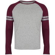 Brave Soul Men's Raglan Contrast Stripe Long Sleeve Top - Burgundy/Grey Marl