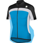 Sportful Pista Longzip Short Sleeve Jersey - Blue/Black/White