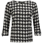 VILA Women's Agnia Houndstooth Blouse - White