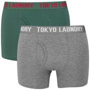 Tokyo Laundry Men's Mount Choovio 2-Pack Boxers - Mallard Green/Dark Grey Marl