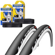Schwalbe Ultremo ZX Clincher Road Tyre Twin Pack with 2 Free Inner Tubes - Black/White 700c x 23mm