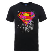 DC Comics Men's T-Shirt - Superman Splatter Logo - Black