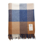 Avoca Lambswool WR81 Throw (142 x 183cm) - Blue/Brown/Cream