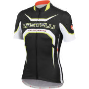 Castelli Velocissimo Full Zip Tour Jersey - Black/White/Yellow Fluo