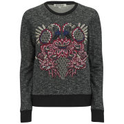 AnhHa Women's Embroidered Flamingo Sweatshirt - Textured/Black
