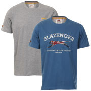 Slazenger Men's 2-Pack T-Shirts - Airforce/Dark Grey Marl
