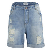 Vero Moda Women's Adele Ripped Denim Shorts - Light Wash