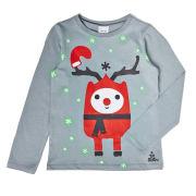 Text Santa Boys' Rudy Glow In The Dark T-Shirt - Grey