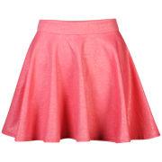 Club L Women's Embossed Skater Skirt - Coral