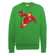 Marvel Avengers Assemble Armored Iron Man Simple Men's Sweatshirt - Irish Green