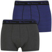 Ben Sherman Men's 2 Pack Boxer - Blue Stripe/Charcoal