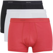 DKNY Men's 53100 Basics Hip Trunk 3 Pack - White/Black/Red