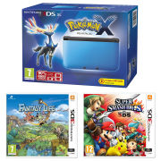 Nintendo 3DS XL Blue and Black Console - Includes Pokemon X, Super Smash Bros. & Fantasty Life