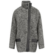 IRO Women's Oversized Leather Detailed Coat - Mixed Grey