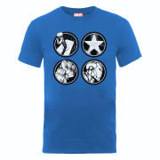 Marvel Avengers Assemble Main Logos Men's T-Shirt - Royal Blue