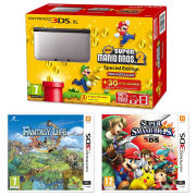 Nintendo 3DS XL Silver and Black Console - Includes New Super Mario Bros 2, Super Smash Bros. & Fantasty Life