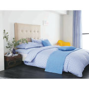 V&A Ikat Gingham Duvet Cover Set - Blue