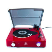 GPO Stylo Turntable (3 Speed) with Built In Speakers - Red