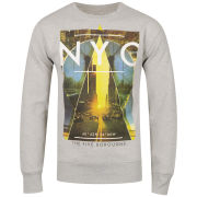 Cinch Men's Gotham Photo Print Crew Neck Sweatshirt - Grey Marl