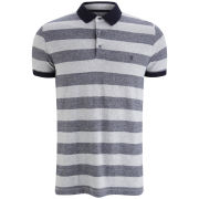 French Connection Men's Caravan Peached Grindle Stripe Marlon Polo - Grey Melange
