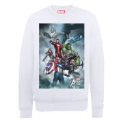 Marvel Avengers Assemble Team Montage Men's Sweatshirt - White
