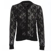 Damned Delux Women's Fitted Lace Bomber Jacket - Black