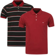 Brave Soul Men's Lusitania 2-Pack Polo Shirts - Burgundy/Charcoal Marl/Navy Stripe & Burgundy