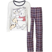 Winnie the Pooh Women's Snuggle Up Checked Pyjama Set - Cream & Navy
