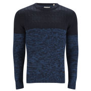 Brave Soul Men's Roman Cable Texture Knitted Jumper - Navy/Cobalt