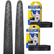 Continental Grand Prix 4Season Clincher Road Tyre Twin Pack with 2 Free Inner Tubes - Black 700c x 23mm