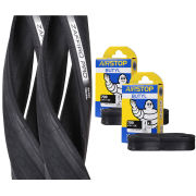 Vittoria Zaffiro Pro Clincher Road Tyre Twin Pack with 2 Free Tubes - Black - 700c x 25mm