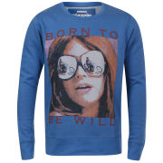 Ringspun Men's Wild Shades Crew Neck Sweat - Sky Blue/Navy Spots