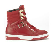 Love Moschino Women's Hardware Leather High Top Trainers - Red
