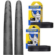 Continental Grand Prix Attack II + Force II Set Clincher Road Tyre Twin Pack with 2 Free Tubes - Black 700c x 22/24