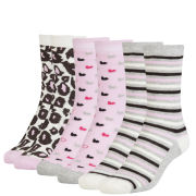 Pineapple Women's 3 Pack Socks Heart Box Gift Set - Grey/Multi