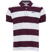 Slazenger Men's Platt Striped Polo Shirt - Damson/White/Blue
