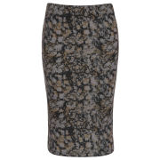 Damned Delux Women's Blurred Daisy Pencil Skirt - Khaki/Black