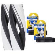 Vittoria Zaffiro Pro Clincher Road Tyre Twin Pack with 2 Free Tubes - Black/White - 700c x 23mm